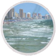 Down The Beach Round Beach Towel