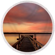 Down The Dock Round Beach Towel