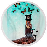 Down The Rabbit Hole Round Beach Towel by Sharon Cummings