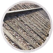 Down The Railroad Round Beach Towel