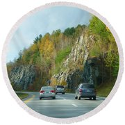 Down The Road On Route 89 Round Beach Towel