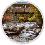 Down The Road To Greenbanks's Hollow Covered Bridge Round Beach Towel