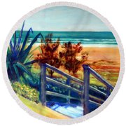 Down The Stairs To The Beach Round Beach Towel