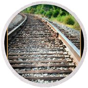 Down The Tracks Round Beach Towel