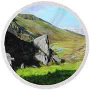 Down The Valley Round Beach Towel