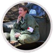 Down Time-us Army Nurse Corps Round Beach Towel