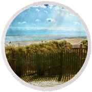 Down To The Beach Round Beach Towel