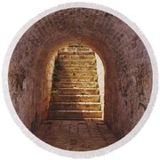Down To The Cellar Round Beach Towel