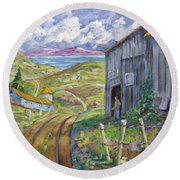 Down To The Fjord Round Beach Towel
