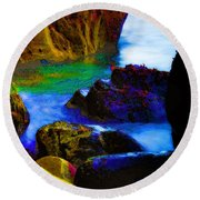 Down To The Sea Round Beach Towel