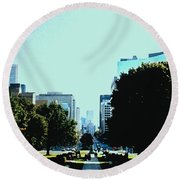Down University Avenue Round Beach Towel