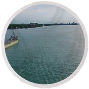 Downbound At Belle Isle Round Beach Towel