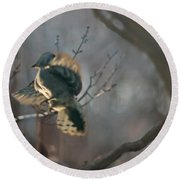 Downey Woodpecker Round Beach Towel