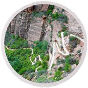 Downhill Switchbacks From Angels Landing Round Beach Towel