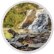 Downstream From Ithaca Falls Round Beach Towel