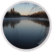 Downstream Mississippi River After Ice Out Round Beach Towel