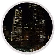 Downtown Atlanta Lights Round Beach Towel