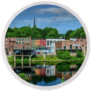 Downtown Augusta, Maine Round Beach Towel