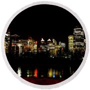 Downtown Calgary At Night Round Beach Towel