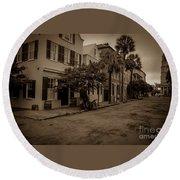 Vintage Downtown Charleston South Carolina Round Beach Towel