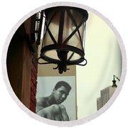 Downtown Detroit Light Fixture With Muhammad Ali Billboard Round Beach Towel