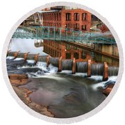 Downtown Greenville On The River Winter Round Beach Towel