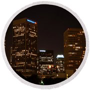Downtown L.a. In Hdr Round Beach Towel