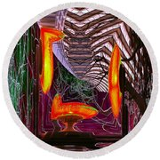 Downtown Light Warp Round Beach Towel