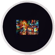 Downtown Lights Round Beach Towel