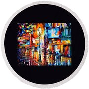 Downtown Lights - Palette Knife Oil Painting On Canvas By Leonid Afremov Round Beach Towel