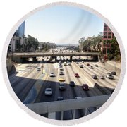 Downtown Los Angeles. 110 Freeway And Wilshire Bl Round Beach Towel