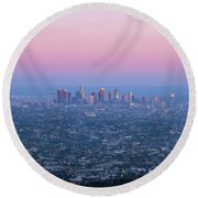 Downtown Los Angeles Skyline At Sunset Round Beach Towel