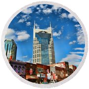 Downtown Nashville Blue Sky Round Beach Towel