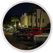 Downtown Old Cars Round Beach Towel