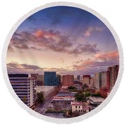 Downtown San Jose From City Heights Round Beach Towel