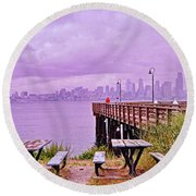 Downtown Seattle As Seen From Alki Beach Round Beach Towel