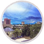 Downtown Skies Round Beach Towel