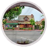 Downtown Solvang Round Beach Towel