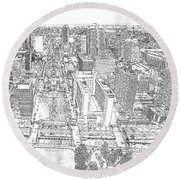 Downtown St. Louis Panorama Sketch Round Beach Towel