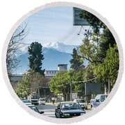 Downtown Street In Santiago De Chile City And Andes Mountains Round Beach Towel
