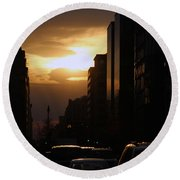 Downtown Sunset From Parking Lot Round Beach Towel