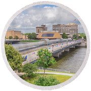 Downtown Waterloo Iowa  Round Beach Towel