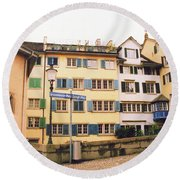 Downtown Zurich Switzerland Round Beach Towel