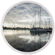 Downy Soft Clouds At The Marina Round Beach Towel