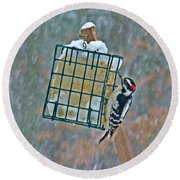 Downy Woodpecker In The Snow Round Beach Towel