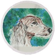 Doxie Blues Round Beach Towel
