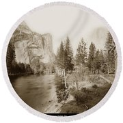 Domes And Royal Arches From Merced River Yosemite Valley Calif. Circa 1890 Round Beach Towel