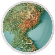 Dpr Korea 3d Render Topographic Map Border Round Beach Towel