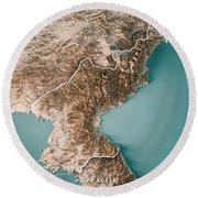 Dpr Korea 3d Render Topographic Map Neutral Border Round Beach Towel