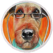 Dr. Dog Round Beach Towel by Michelle Hayden-Marsan